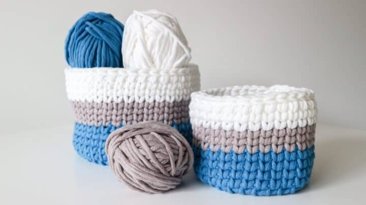 Woolster decorative baskets - blue